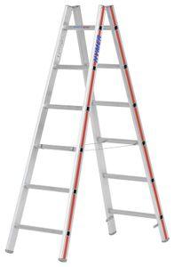 Hymer Sprossenstehleiter, beidseitig begehbar, 2x6 Sprossen, senkr. Höhe 1,70 m, Reichhöhe 3,00 m, Gewicht 6,1 kg