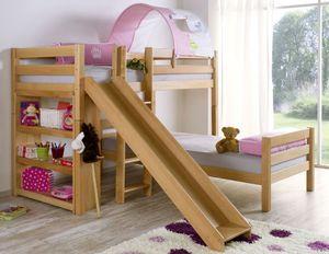 Etagenbett mit Rutsche BENI L Kinderbett Spielbett Bett Natur Stoff Prinzessin, Matratzen oben/unten:ohne