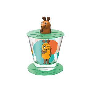 LEONARDO Bambini Kindertrinkset Maus, Glas, Kunststoff, grün/orange, 3-teilig (1 Set)
