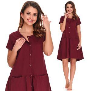 Schwangerschaft Maternity Nursing Nachtkleid Nachthemd in Dunkelrot - 100% Baumwolle - Größe L