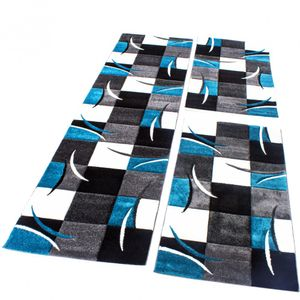 Bettumrandung Läufer Teppich Kariert in Türkis Grau Schwarz Weiß Läuferset 3 Tlg, Grösse:2mal 80x150 1mal  80x300