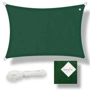 hanSe® Marken Sonnensegel HDPE Rechteck 2x4m Grün UV-Schutz Sonnenschutz Schattenspender