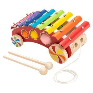 Bieco Kinder Xylophon zum Nachziehen | Musikinstrumente für Kinder ab 1 Jahr | Süßes Musikspielzeug Baby | Glockenspiel für Kinder mit Schlägel | Xylophon Kinder 1 Jahr | Baby Musikinstrumente