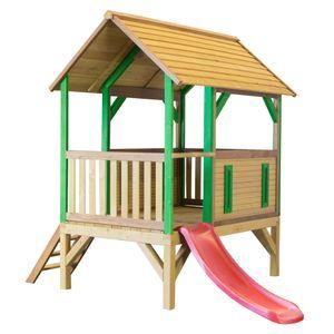 AXI Spielhaus Akela mit roter Rutsche | Stelzenhaus in Braun & Grün ausHolz für Kinder | Spielturm für den Garten