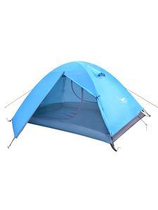 Wasserdichtes 2-Personen-Doppelschicht-Campingzelt 4 Jahreszeiten Atmungsaktiv Ultraleicht,Farbe: Blau,Größe:2 Person