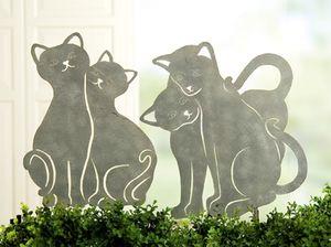 Bodenstecker 'Katzenpaare', 2-teiliges Set, 41 + 34 cm, antik-grau