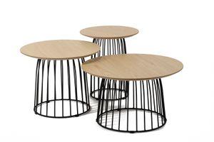 SalesFever Beistelltisch rund 3er Set   Platte Eiche   Gestell Metall   B 60 x T 60 x H 45 cm   natur-schwarz