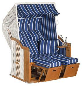 Rustikal Strandkorb 250 Plus 2-Sitzer, Halblieger Ostseeform, Geflecht weiß, Strukturpolyester blau-dunkelblau-weiß-gestreift, Fichtenholz lasiert, ca.125x90x160