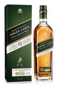 Johnnie Walker Green Label 15 Jahre Blended Malt Scotch Whisky in Geschenkpackung   40 % vol   0,7 l