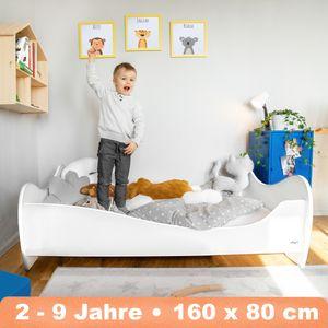 Alcube Kinderbett 80x160 mit Matratze Lattenrost und Rausfallschutz MDF MASSIVHOLZ Juniorbett Jugendbett - Weiß