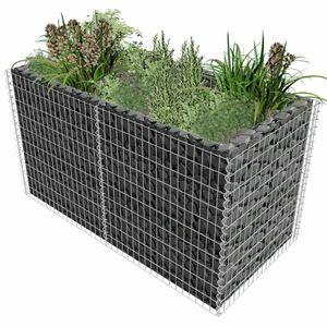 Gabionen-Hochbeet ,Garten-Hochbeet, Hochbeet für Balkon und Garten Stahl 180×90×100 cm Silbern