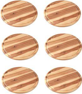 6 Stück Fackelmann Vesperbrett Akazie Küchenbrett aus Natur-Holz mit Saftrille, Frühstücksbrettchen (Farbe: Braun)