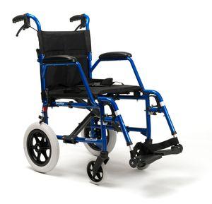 FabaCare Rollstuhl Bobby, Leichtgewicht Faltrollstuhl, Reiserollstuhl, faltbar, Transportrollstuhl, bis 115 kg, Sitzbreite 48 cm
