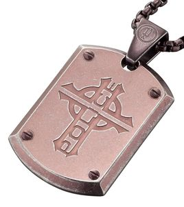 POLICE Prowler Halskette inkl. Anhänger Edelstahl braun 50+20 cm PJ25607PSEBR-CROSS