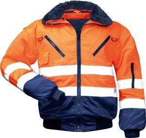 Warnschutzjacke Arbeitsjacke, Orange, Warnjacke Pilotenjacke 4 in 1 Winterjacke, Größe XXXL