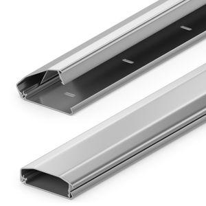 deleyCON Universal Kabelkanal Leitungskanal innovativer Klappmechanismus hochwertiges Aluminium Länge 100cm Breite 6cm Höhe 2cm - Silber