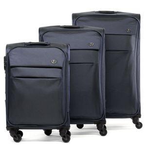 FERGÉ 3er Kofferset Calais Nylon dunkelblau 3er StoffKoffer Roll-Koffer 4 Rollen Kofferset 3-teilig Weichschale