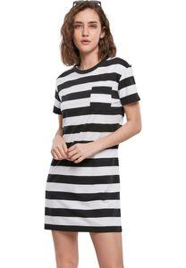Urban Classics Kleid Ladies Stripe Boxy Tee Dress Black/White-L