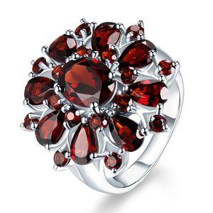 Mode Granatapfel Rubin Ring Mit Diamant Verlobungsring