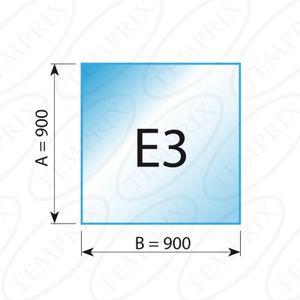 Kaminbodenplatte Transparent Form E3  900 x 900 x 6mm - Version ECO (Tragkraft bis 550 Kg)