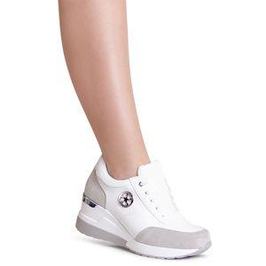 topschuhe24 1999 Damen Keilabsatz Sneaker Halbschuhe, Farbe:Weiß, Größe:38 EU