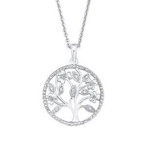 Amor Schmuck Kette mit Anhänger für Damen, Sterling Silber 925, Zirkonia Lebensbaum
