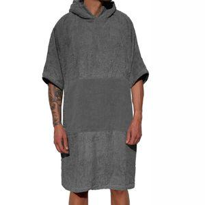 Homelevel Damen und Herren 100% Baumwolle Bademantel Poncho Badeponcho Strandponcho Handtuch Cape Frottee Badetuch mit Kapuze Dunkelgrau S/M
