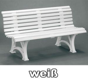 Gartenbank 3 Sitzer Helgoland / Neptun weiß Kunststoff