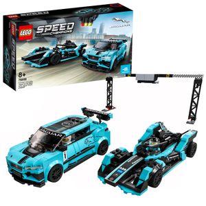 LEGO 76898 Speed Champions Formula E Panasonic Jaguar Racing GEN2 car & Jaguar I-PACE eTROPHY, Rennwagen-Set