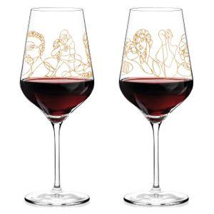 Ritzenhoff Wein-Ensemble Rotweinglas-Set Burkhard Neie, Pan & Selene / Zeus & Leda, Kristallglas, 583 ml, 3400001