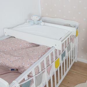 Puckdaddy Wickelbrett Mika mit Wickelauflage Celine, Wickelaufsatz aus Holz,Weiß, für das Babybett