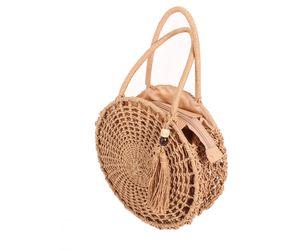 geflochtene Sommer Bast Handtasche Boho Korbtasche rund, Farbe:natur