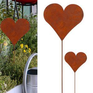 3er Set Gartenstecker Herz im Rost Design, 80cm