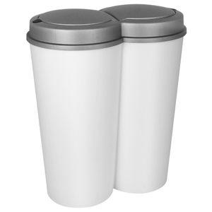 Duo Mülleimer 2x25L mit Deckel Abfalleimer Mülltrenner 50 Liter weiß grau