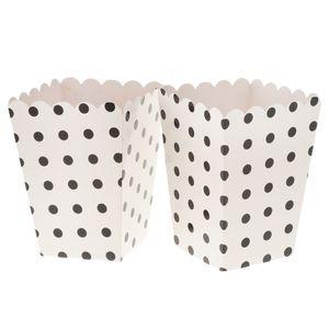 12x Papier Box Tüten Schachtel Tasche für Popcorn Snack und Süßigkeiten, Weiß und Schwarz