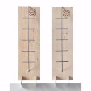acerto® - 2x Flammlachsbrett aus Buche - 3 Stufen einstellbar - Lachs bis 1,5kg - Original Flamm-Lachsbrett Lachsflammbrett für echten Feuerlachs