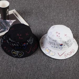 2er/Pack Mode Graffiti Faltbare Fischerhut Fischerhüte Bucket Hat Baumwolle