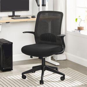 SONGMICS Bürostuhl Schreibtischstuhl für Büro Arbeitszimmer drehbar höhenverstellbarer Computerstuhl mit Netzbespannung schwarz OBN032B01