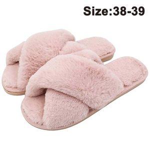 Hausschuhe Damen Winter Warm Plüsche Pantoffeln rutschfeste Flache Flip Flop Slippers Indoor/Outdoor