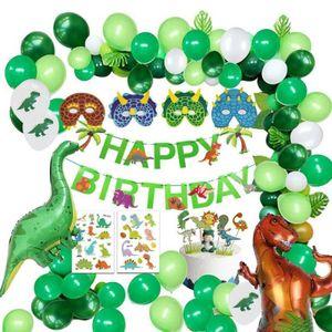 1 x Ballonset Dinosaurier Wald Grün und Weiß Luftballons Ballons HAPPY BIRTHDAY Set Kinder Geburtstag Party Dekoration