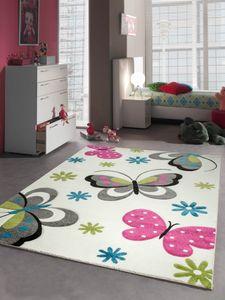 Kinderteppich Spielteppich Mädchen Schmetterling pink weiss Größe - 120 cm Rund