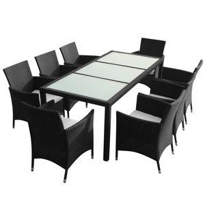 Huicheng 8+1 Poly Rattan Garten Essgruppe Sitzgruppe Gartenmöbel Sets mit Auflagen, Glasplatte Tisch und 8 Rattan Stühle Schwarz
