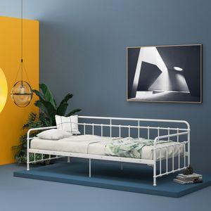 Einzelbett Tagesbett Metallbett 90x200cm Bett mit Lattenrost Daybed Metallrahmen, Bettrahmen Metall für Gästebett, Weiß
