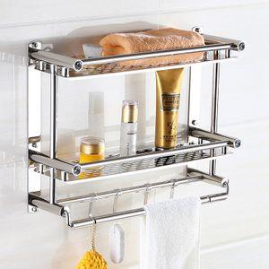 Badregal Bad und Dusche freistehend ideale Aufbewahrung von Shampoo, Duschgel, Handtücher auf drei Ablagen Rostbeständig Wandregal