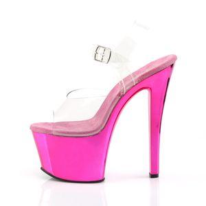 Pleaser SKY-308 Riemchensandaletten pink, Größe:EU-37 / US-7 / UK-4