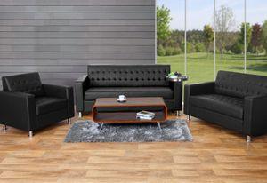 3-2-1 Sofagarnitur Kunda, Couch Loungesofa Kunstleder, Metall-Füße  schwarz
