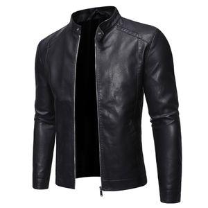 Herren Lederjacke Herbst & Winter Biker Motorrad Reißverschluss Outwear Mantel Jacken Größe:L,Farbe:Schwarz