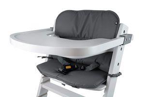 Universal Hochstuhl-Sitzkissen optimal Set mit Memory-Schaum Sitzverkleinerer-Auflage für Babystühle rutschfest Dunkelgrau