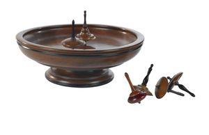 G633: Nostalgisches Holz Kreisel Spiel mit Spielbord, Spinning Tops