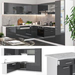 Vicco Küchenzeile R-Line Eckküche Winkel Küche Einbauküche Anthrazit Hochglanz